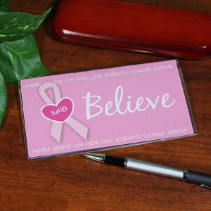 Believe - Breast Cancer Awareness Personalized Checkbook Cover