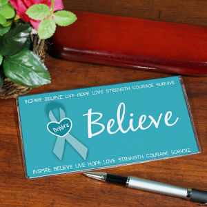 Believe - Ovarian Cancer Awareness Personalized Checkbook Cover
