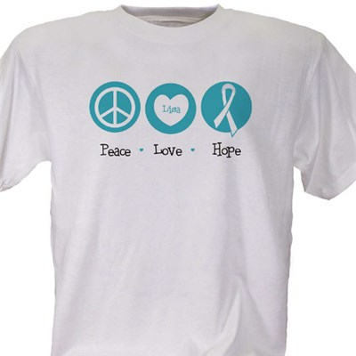 Peace love happiness ovarian cancer awareness personalized for Ovarian cancer awareness t shirts