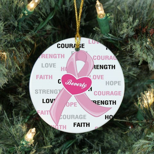 Hope and Love Breast Cancer Awareness Ceramic Christmas Ornament |  MyWalkGear.com - Hope And Love Breast Cancer Awareness Ceramic Christmas Ornament