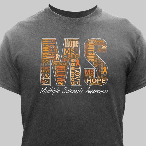 multiple sclerosis word art t shirt
