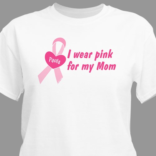 76326fcdd Personalized I Wear Pink Breast Cancer Awareness T-Shirt
