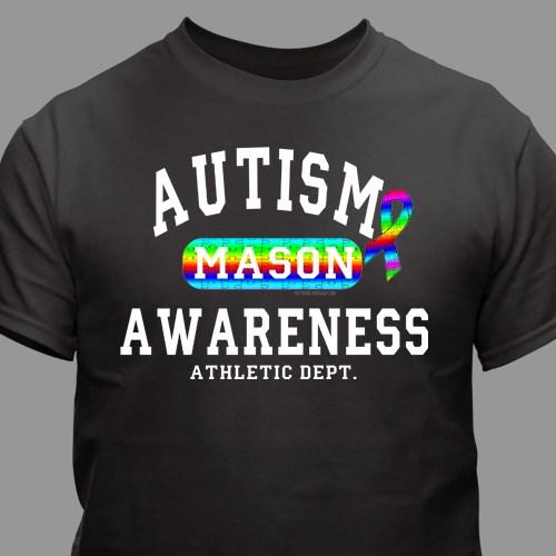 6dfd9d31782 Personalized Autism Awareness Athletic Dept. T-Shirt | MyWalkGear.com